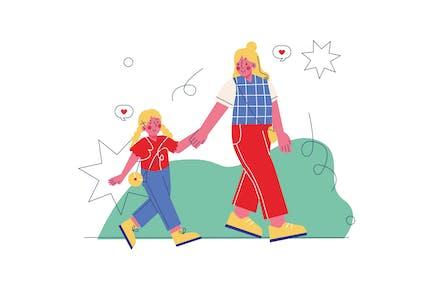 Ilustración de madre e hija en el parque
