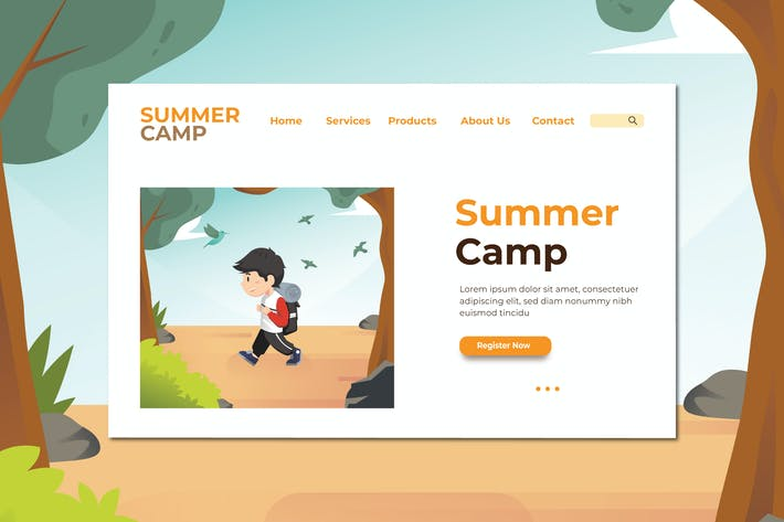 Thumbnail for Summer Camp Landing Page Illustration