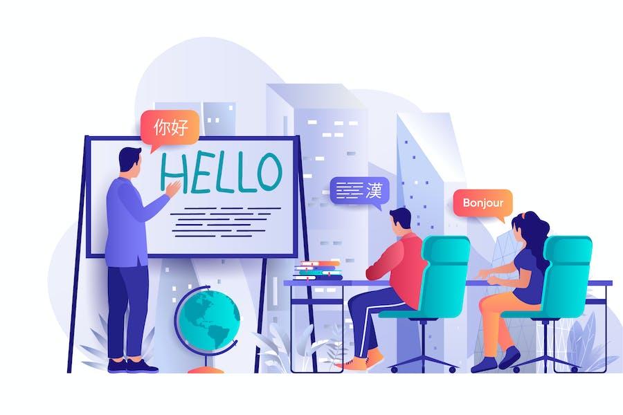 Sprachkurse Flat Web Illustration