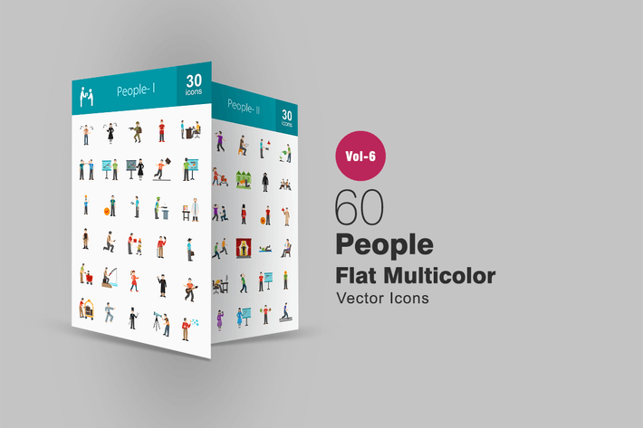 Thumbnail for 60 People Flat Multicolor Icons