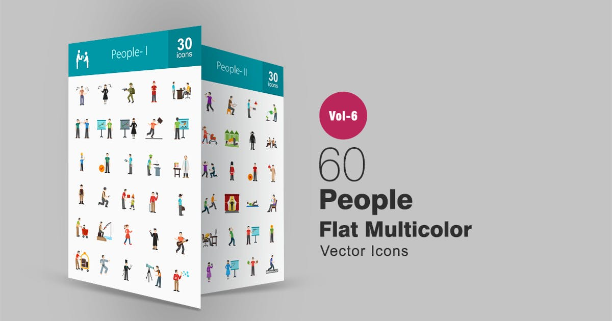 Download 60 People Flat Multicolor Icons by Unknow