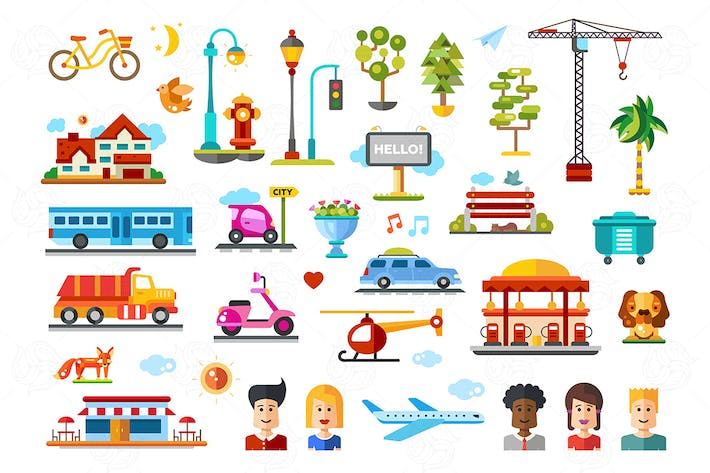 Thumbnail for Urban objects - vector flat design icons set