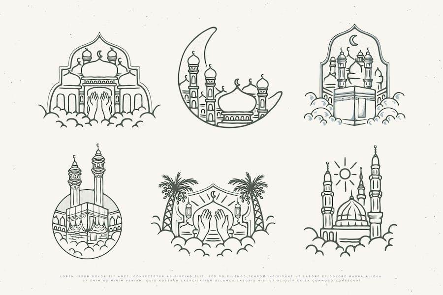 vintage illustration islamic design