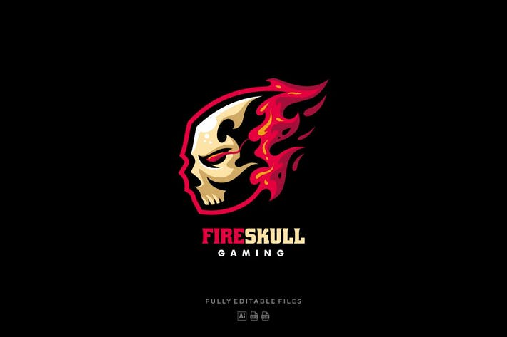 Thumbnail for Fire Skull Sports and E-sports Style Logo