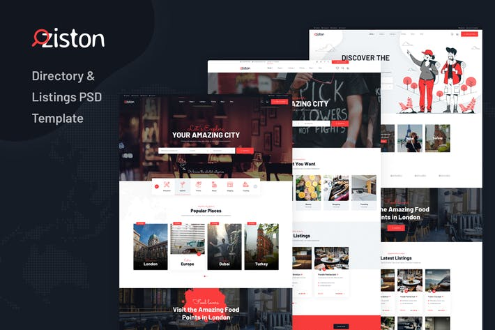 Thumbnail for Ziston - Directory & Listings PSD Template