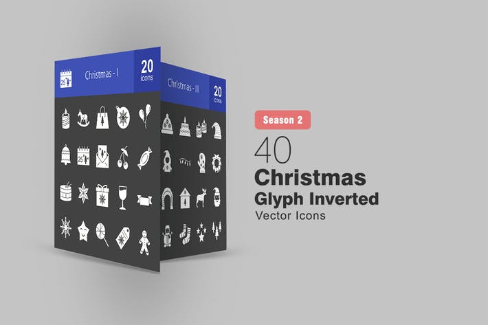 Cover Image For 40 Christmas Glyph Inverted Icons