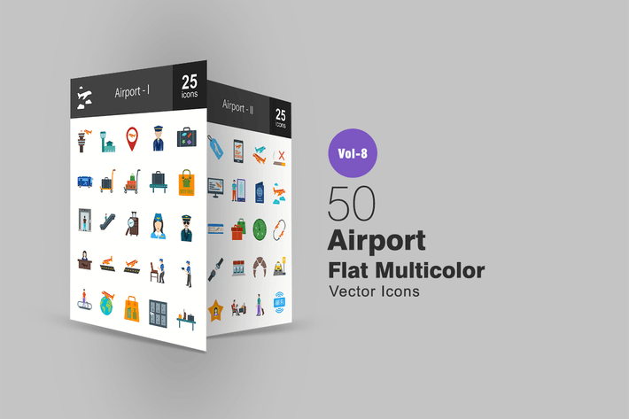 Thumbnail for 50 Airport Flat Multi-color Icons