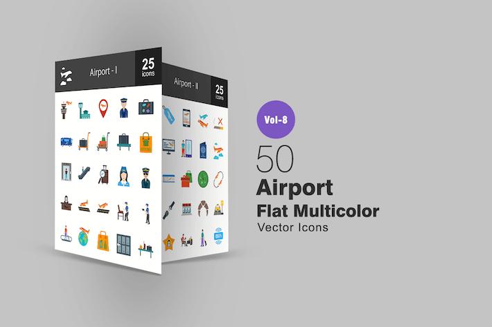 Thumbnail for 50 Airport Flat Íconos multicolor