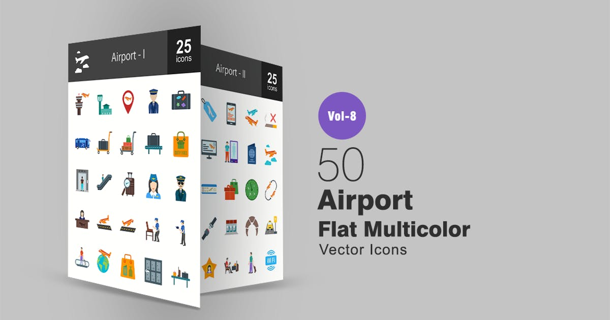 Download 50 Airport Flat Multi-color Icons by Unknow