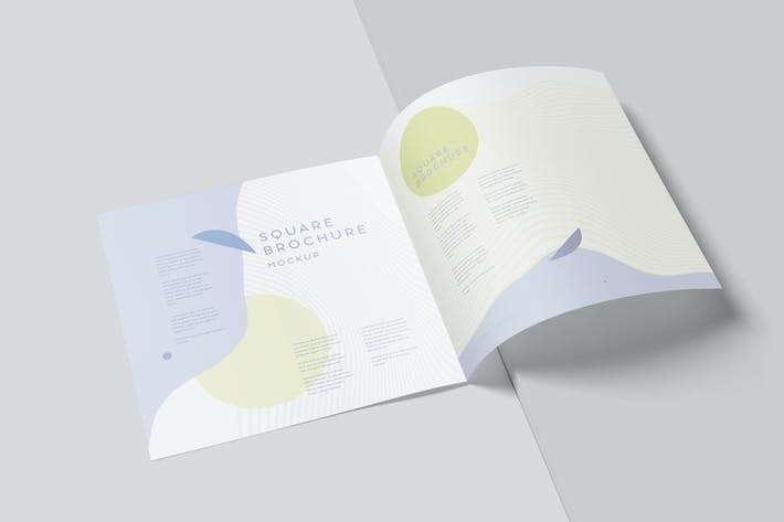 Thumbnail for Two Fold Wide Square Brochure Mockups
