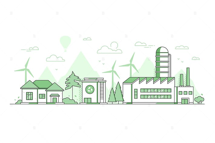 Thumbnail for Eco manufacturing - line design style illustration