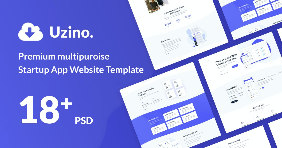 Download Uzino | Premium Startup App PSD Template by Leonard_Design