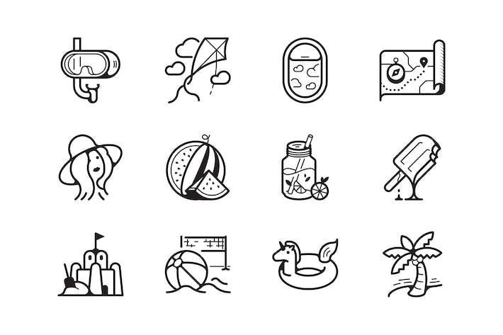 Thumbnail for Sommerzeit- und Urlaubs-Symbol-Set