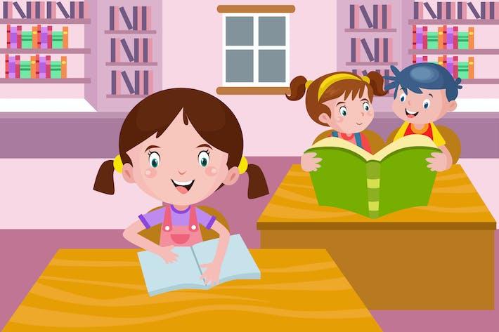 Niños leyendo libros en Biblioteca - Ilustración