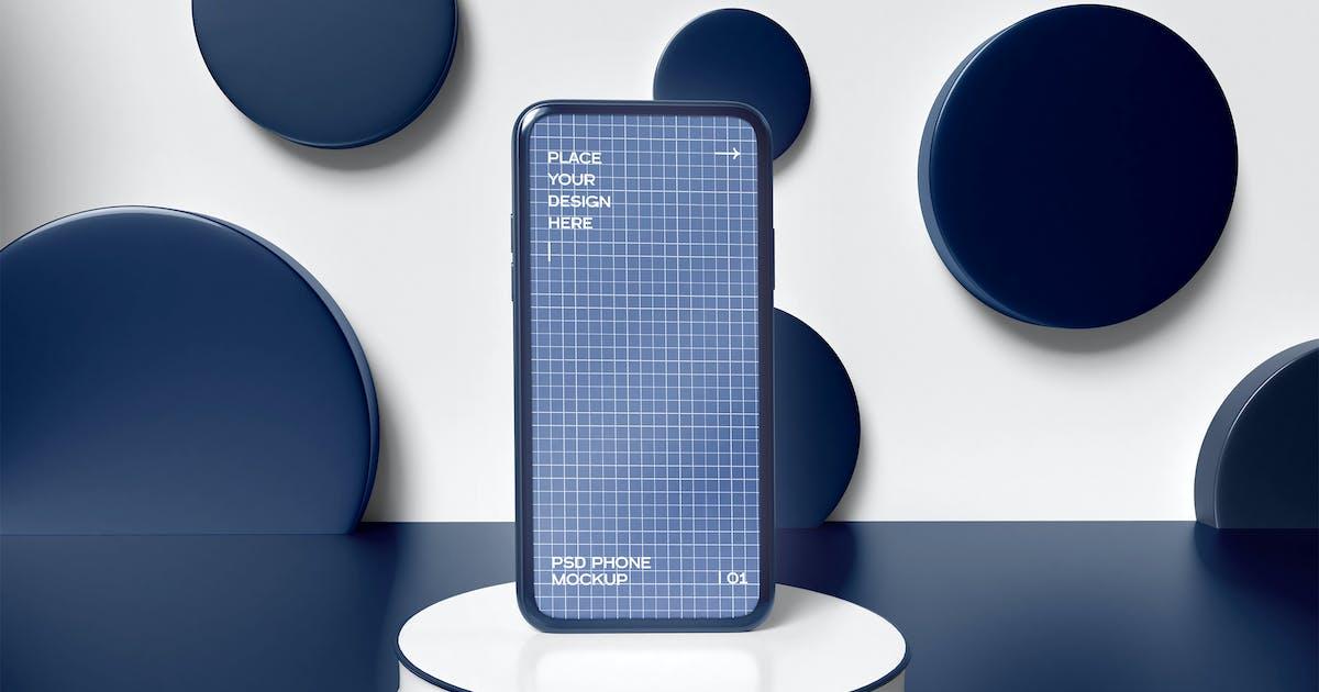 Download Mobile Phone On Pedestal Mockup by megostudio