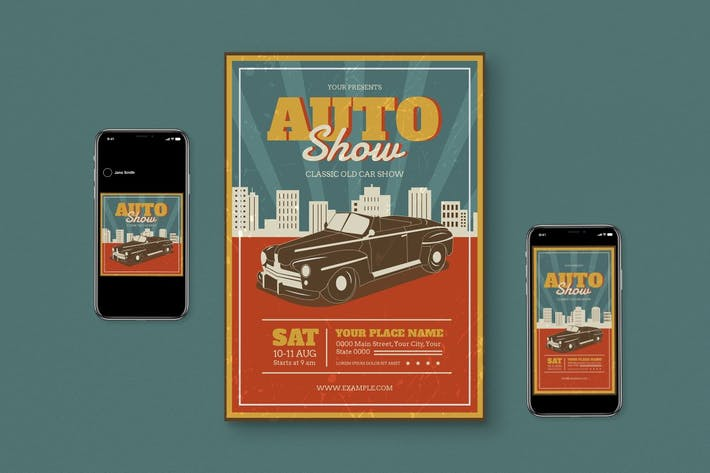 Thumbnail for Retro Auto Show Flyer Set