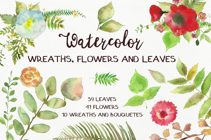 Thumbnail for Watercolor Wreathes and Bouquets