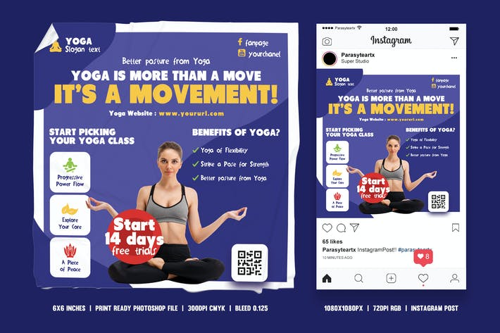 Thumbnail for Yoga Class Square Flyer & Instagram Post