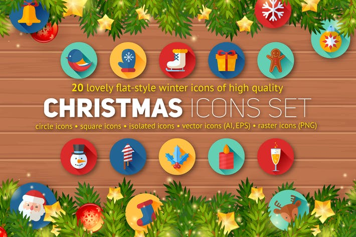 Thumbnail for Christmas Flat Icons Set