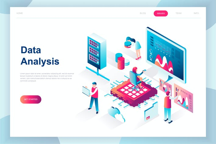 Cover Image For Big Data Analysis Isometric Landing Page