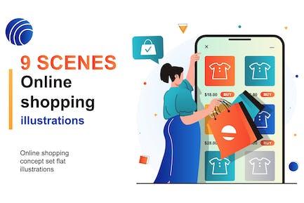 Online Shopping Web Scenes Set