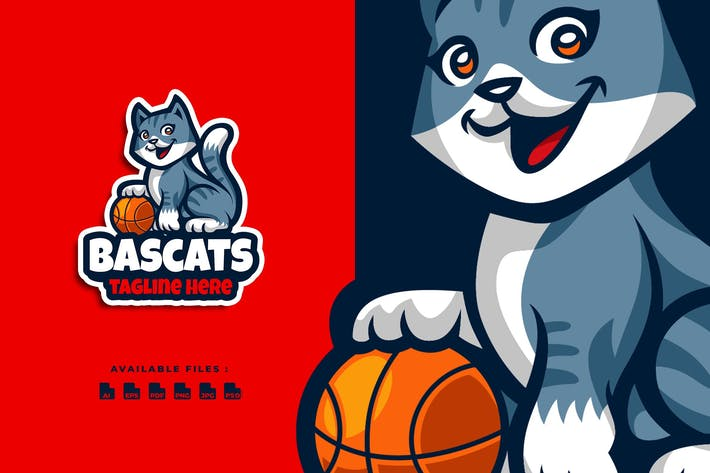 Basket Cats Cartoon Logo