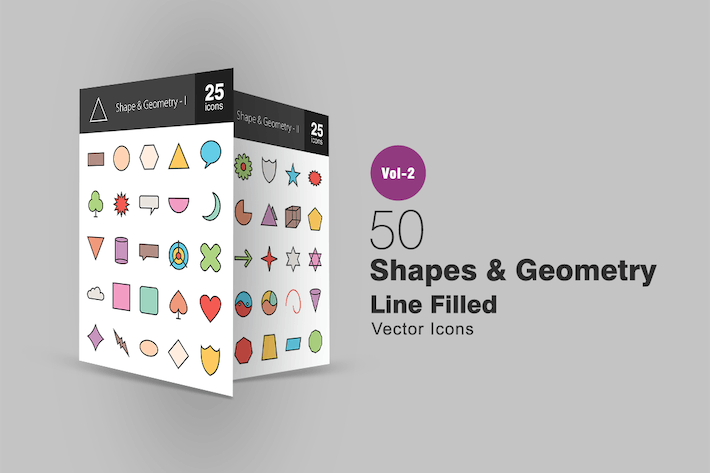 Thumbnail for 50 Shapes & Geometry Line Filled Icons