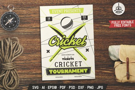 Cricket Event Flyer. Sports Poster Template