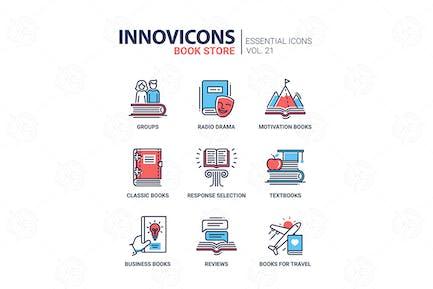 Buchladen - moderne FarbVektor einzeilige Icons