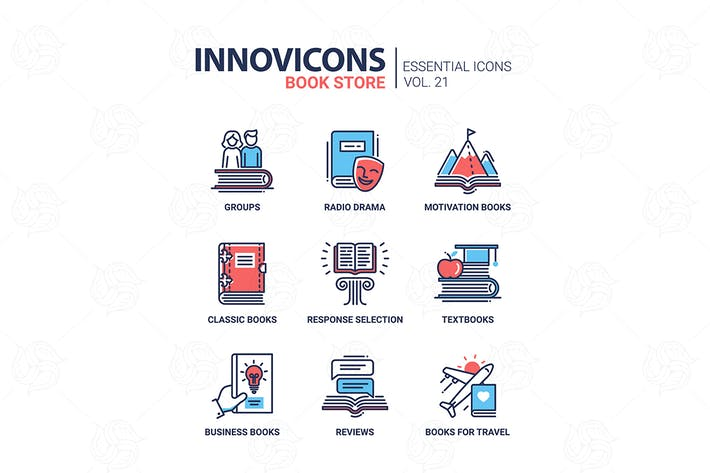 Thumbnail for Book store - modern color vector single line icons