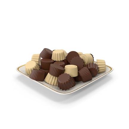 Quadratischer Teller mit Schokolade