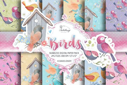 Watercolor Birds digital paper pack