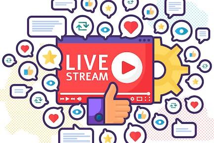 Beliebte Live-Stream-Start-Illustration