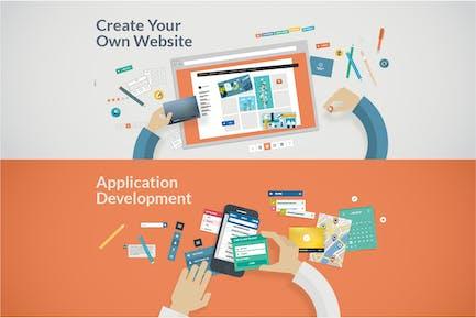 Desarrollo de conceptos de diseño plano para sitios web y aplicaciones