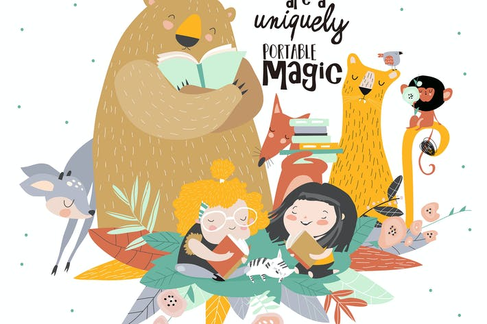 Thumbnail for Little girls reading book with cartoon animal