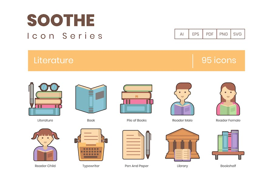 95 Literature Icons - Soothe Series