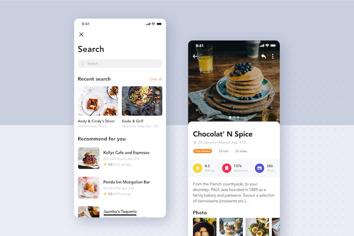 Thumbnail for Food Delivery UI Kit - Search screen