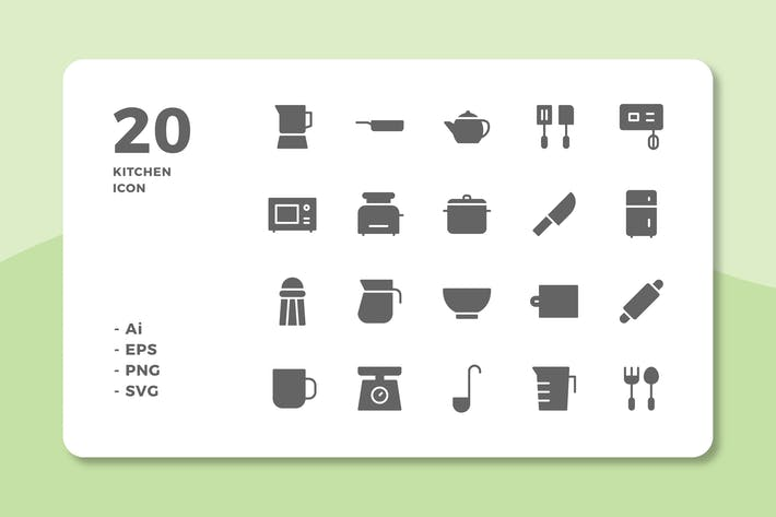Thumbnail for 20 Kitchen Icons (Solid)