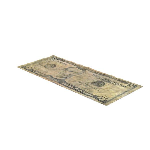 US 5 Dollar Bill Distressed