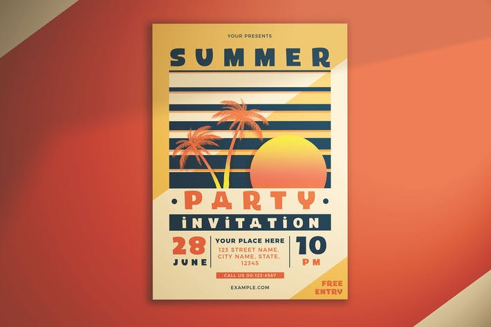 Thumbnail for Summer Party Invitation Flyer