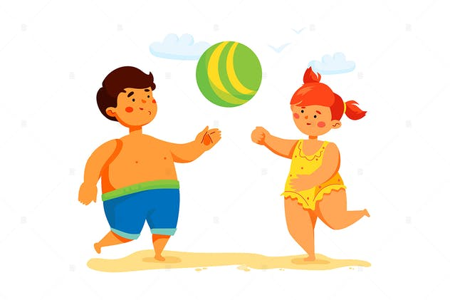Children Playing Ball Game - colorful illustration