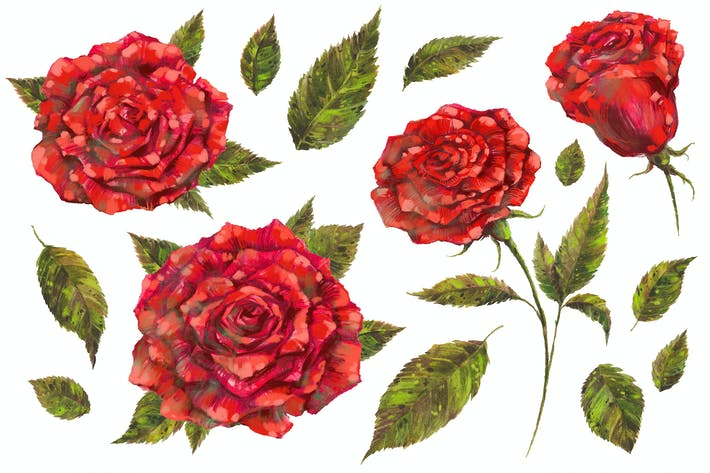 Thumbnail for Handpainted Red Roses PNG Set