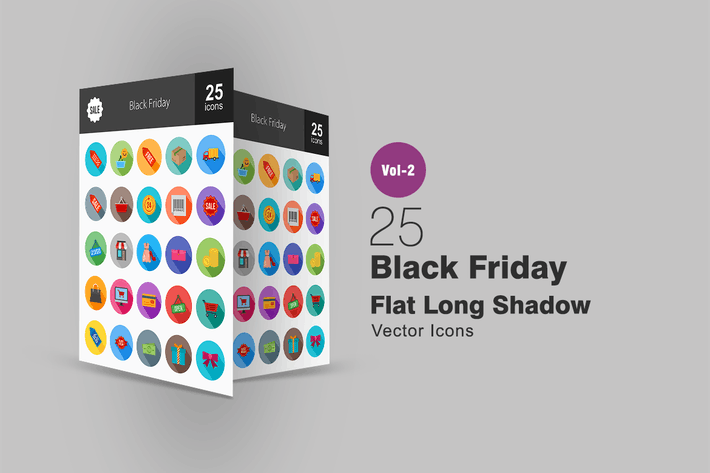 Thumbnail for 25 Black Friday Flat Long Shadow Icons