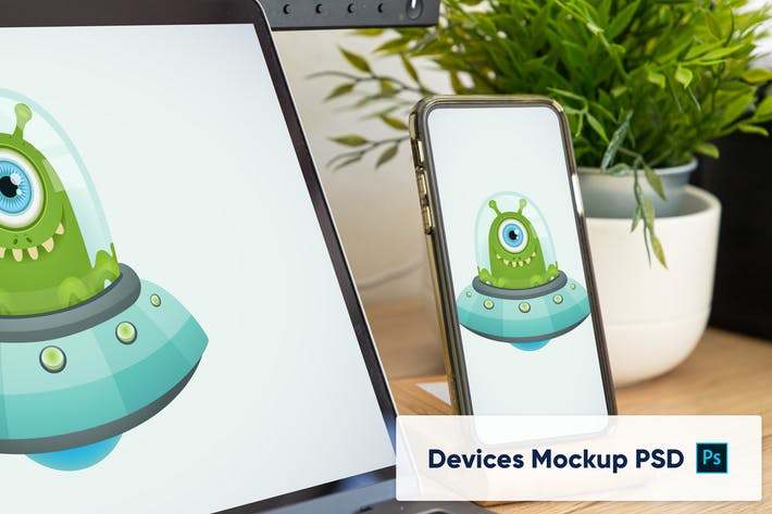 Phone in stand in home office workplace - Mockup P