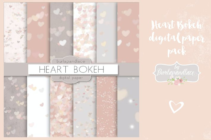 Thumbnail for Heart bokeh heart digital paper pack