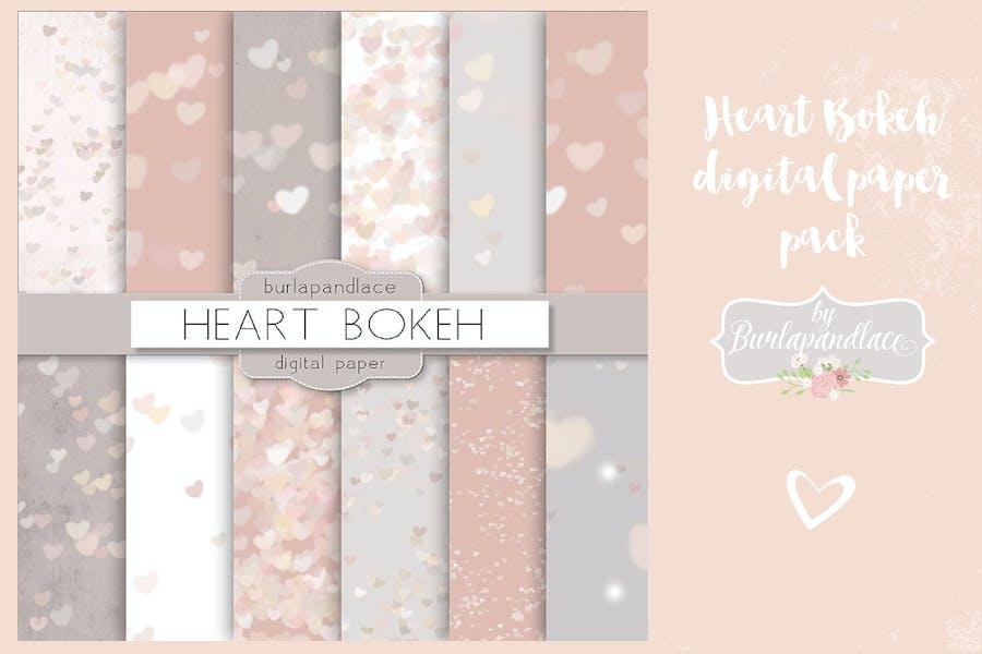 Heart bokeh heart digital paper pack
