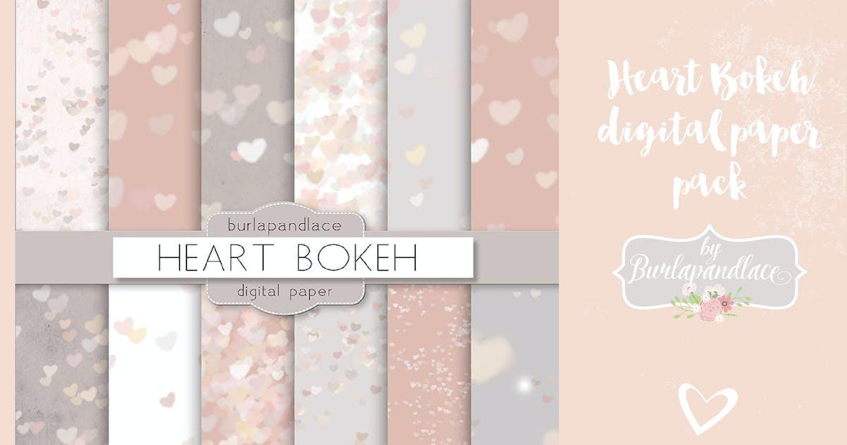 Download Heart bokeh heart digital paper pack by burlapandlace