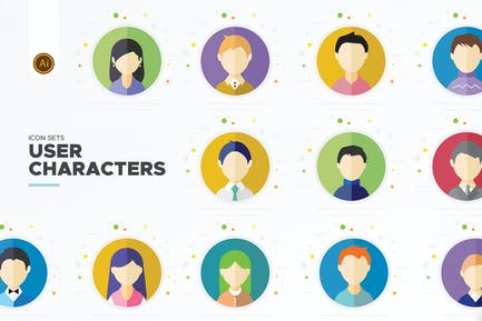 Flat User Character- Vector Icon Set