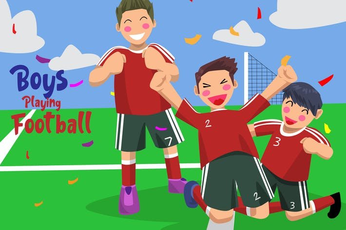 Thumbnail for Boys Football - Vector Illustration