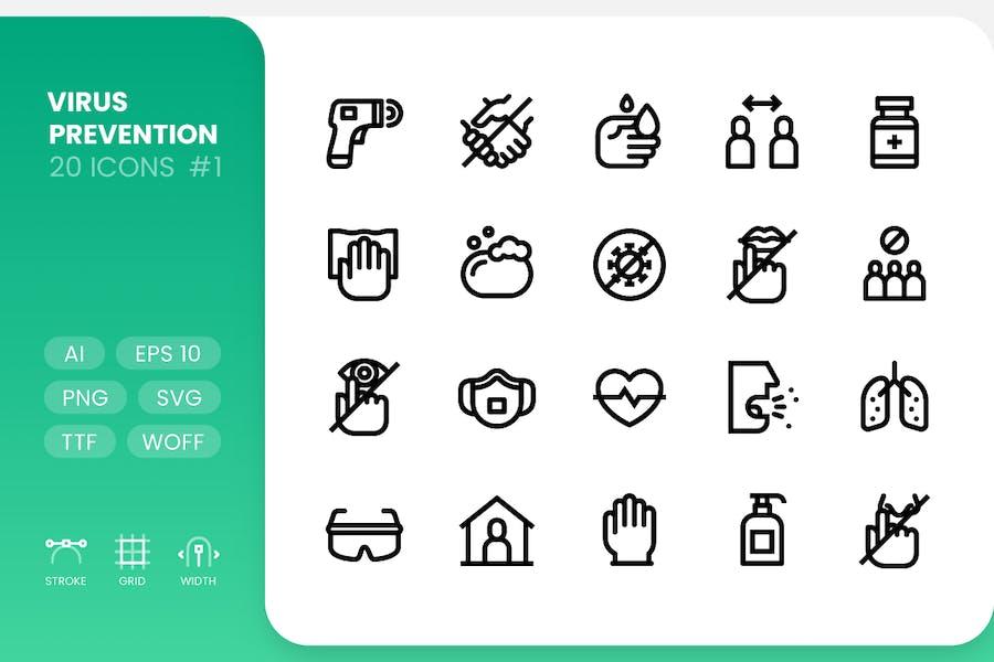 Virus Prevention - Line Icons